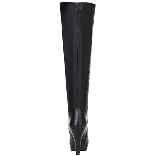 ENMAYER Femmes Sexy Party High Heel Ronde Toe Plateforme Bottes Hautes Taille Noir