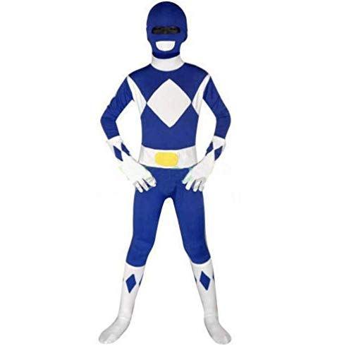 FYBR Kids Blue Power Ranger SuperSkin Costume - Children Unisex Boys & Girls Onesie | Mighty Morphin Zentai Animal Cosplay Outfit Halloween Clothing Lycra Spandex (Small)