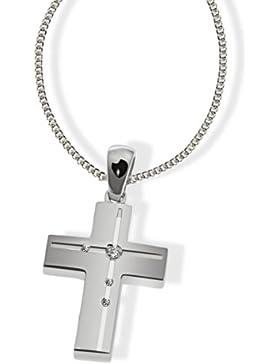 goldmaid Unisex Halskette Silber 925 4 klare Zirkonia matt und hochglanzpoliert Kr C4508S Kettenanhänger Schmuck