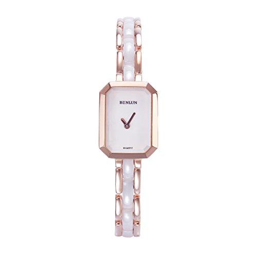 BINLUN Damen Analog Quarzwerk Uhr mit Keramik Armband Rosegold Wasserdicht FBL0007L-CRW