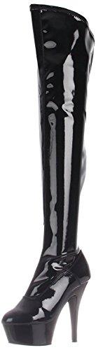 PleaserUSA Plateau-Overknee-Stiefel Kiss-3000 Lack schwarz 40 (Plateau Stiefel Kiss)