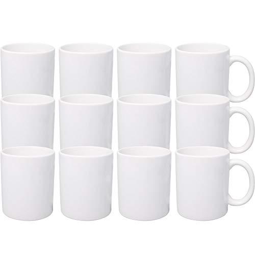12er Set weiße Keramik Kaffeetassen ohne Druck - zum bemalen und basteln geeignet - Simple Kaffeebecher zum Personalisieren - 300ml - Tassen/Becher/Pott für Kaffee, Tee und mehr