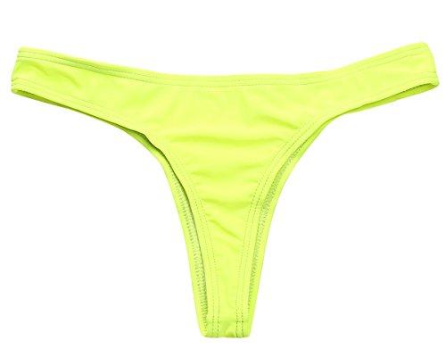 MissTalk Donna Fashion Stile Bikini Perizoma Tessuto Liscio Minimal copertura brasiliano Bikini Bottom Verde fluorescente