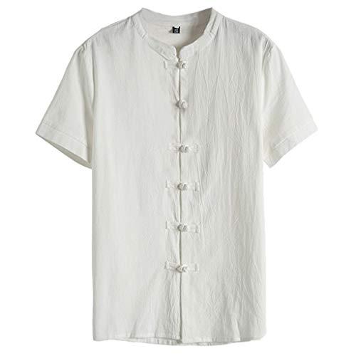 TWISFER Herren Chinesisch Traditionelle Baumwolle Leinen Shirt Einfarbig Kurzarm Breathable T-Shirt Vintage Tops mit V-Ausschnitt -