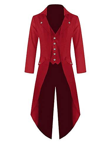 Outgobuy Herren Steampunk Vintage Frack Jacke Gothic viktorianischen Frock Mantel Uniform Kostüm (XXL, Rot)