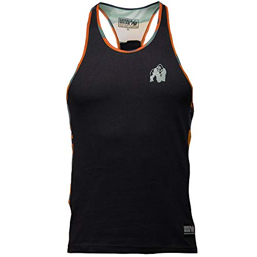 Gorilla Wear Sacramento Camo Mesh Tank Top - Fitness Stringer Bodybuilding Muskelshirt Schwarz/Orange L