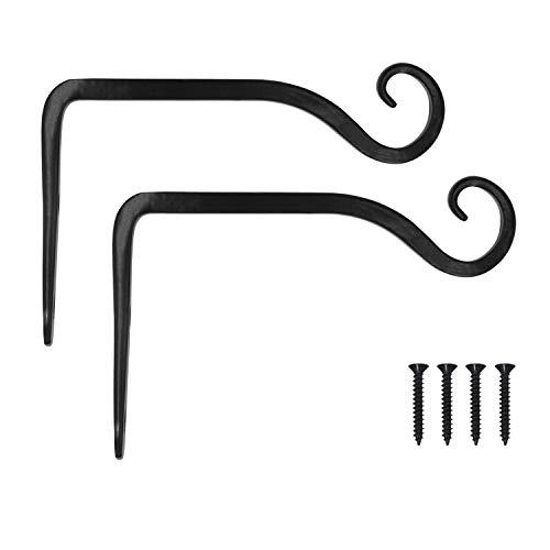 VEVIK Pflanzenhalterung Blumenampelhalter Eisen Wandhaken Blumenampel Wandhalter Haken 10cm zum Aufhängen von Pflanzer Vogelhäuschen Laterne Windspiele Wandleuchter - 2 Stücke