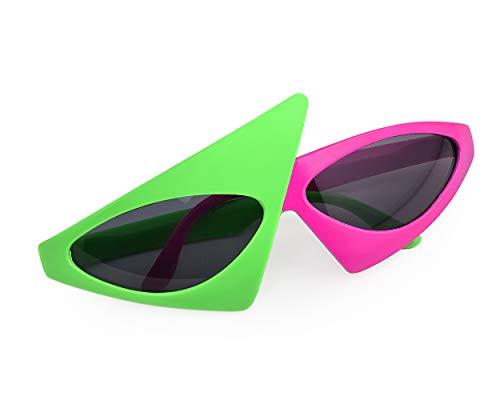 SCSpecial Neuheit Party Sonnenbrille 80er Jahre Asymmetrische Gläser rosa Neon grün Gläser Hip Hop Dance Halloween ()