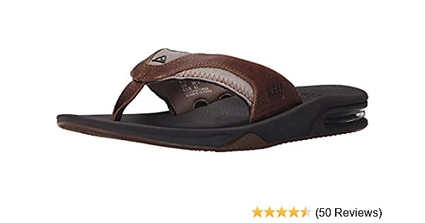 67e291593615 Reef Men s Leather Fanning Flip Flops  Amazon.co.uk  Shoes   Bags