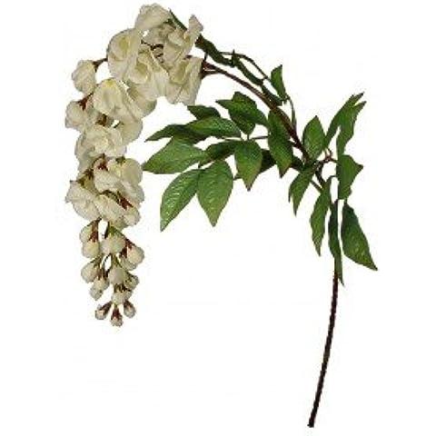 Flores de prado (Wisteria), 26 Flores, 4 hojas, 90 cm - Crema