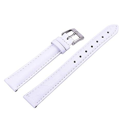 12/14/16/18/20/22/24 mm Bande de bracelet montre Bracelet cuir Remplacement boucle Wrist Watch Deployante Blanc