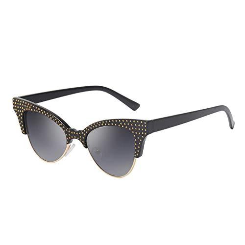 Scrolor Halbrand Sonnenbrillen für Charmante Frau Mode Damen Strahlenschutz Kunststoffrahmen Nieten Design(Marine,free)