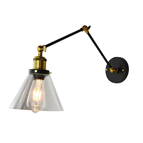 OOFAY LIGHT Weinlese-Industrielle Rustikale Wand-Leuchter/Gang-Lampen-Transparenter Trichter-Glaslampenschirm-Teleskopspiegel-Vordere...