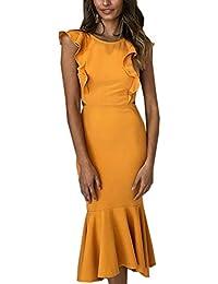 Angashion Damen Sexy Kleid Ärmellos Unregelmäßig Cocktailkleid Elegante  Rückenfrei Strandkleider 77f4a4bcaa