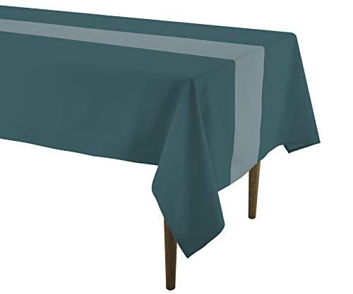 Doran Sou Galaxy Grün/Silber, rechteckige Tischdecke 150x 250cm, gewebte Baumwolle Hervorragende Qualität mit Metallic Silber Garn