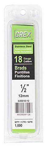 Grex Power Tools GSB18–45Edelstahl 18Gauge 1–3/10,2cm Länge Brad Nägel (1,000per Pack), GSB18-12