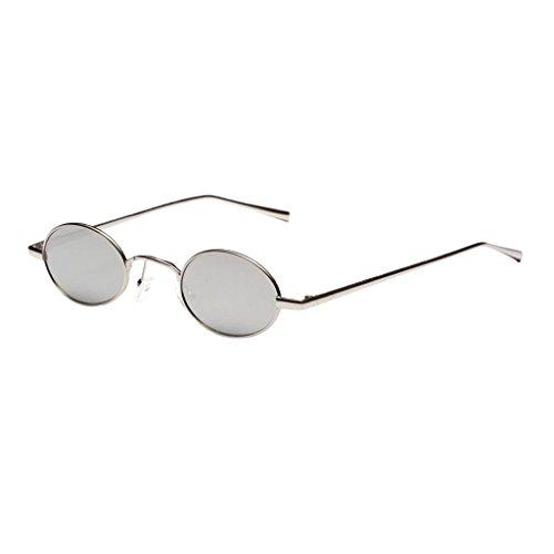 Damen Herren Sonnenbrille Oval Kleine Sonnenbrillen Polarisierten Brille - Weißsilber