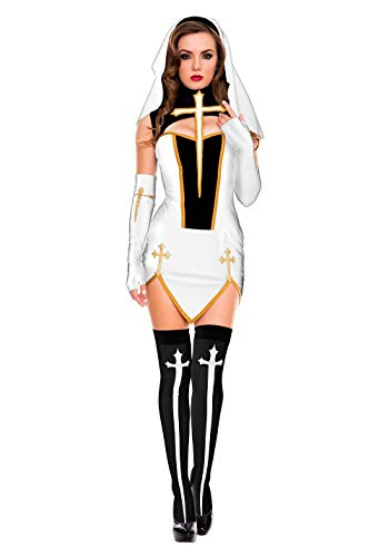 Plus Sexy Kostüm Nonne Größe - FHSIANN Sexy Nonne Kostüm Erwachsene Frauen Weißes Cosplay Kleid Mit Strümpfen Hoodie Für Halloween