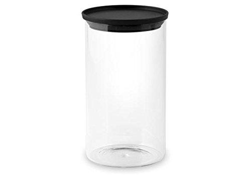 H & H 95018Dose mit Deckel, Borosilikat/Kunststoff, transparent/schwarz