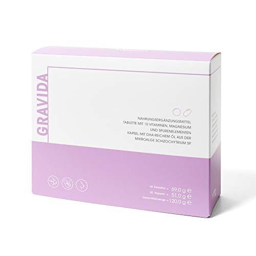 GRAVIDA Vegan Folsäure 800 µg für Kinderwunsch, Schwangerschaft & Stillzeit - mit DHA EPA (Omega 3), Vitamin D & B12, Eisen, Jod, 60 Tabletten + 60 Kapseln - 6