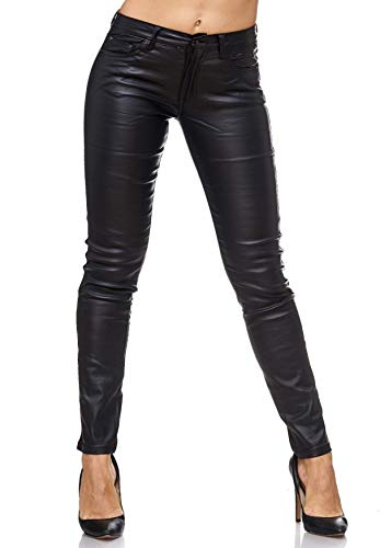 EGOMAXX Damen Treggings Leder Optik Biker Stretch Hose Faux Hüfthose, Farben:Schwarz, Größe Damen:42 / XL -