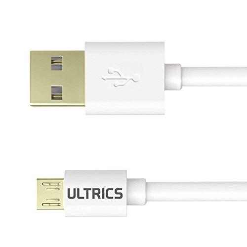 ULTRICS Cavo Micro USB 1M, Cavi Dati USB 2.0 Ricarica Rapida, Connettori Placcati Oro Corto Cavetti Compatible con Samsung Nokia Nexus LG, PS4 PS3 Xbox Controller di Gioco e Altro - Bianco