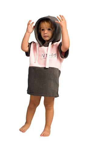 Vivida Lifestyle Poncho mit Kapuze Handtuch und Umziehilfe am Strand, beim Surfen und Schwimmen verwendbar - Pink/Grau, S (Baby)