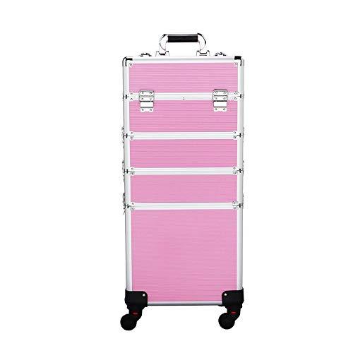 Yaheetech Beauty Case Trolley Valigia Grande Porta Trucchi Cosmetici per Estetista Parrucchiere Professionale 34 x 25,5 x 100 cm Rosa