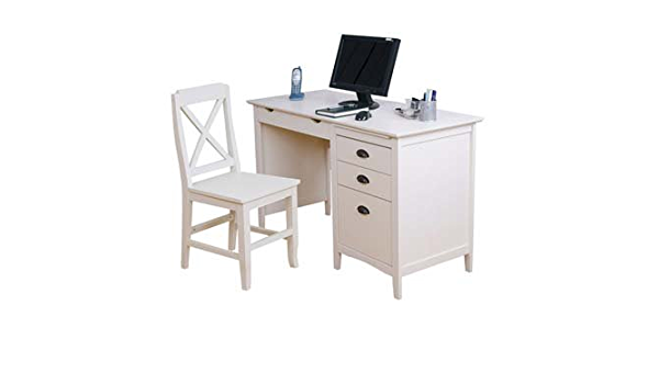 Maine White Computer Desk And Chair Set Color White Amazon Co Uk Kitchen Home