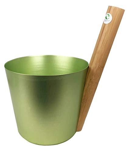 SudoreWell® Saunakübel Saunaaufguss Kübel aus Aluminium (birkengrün) mit geradem Griff