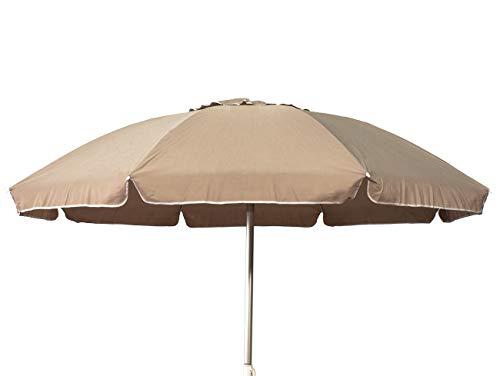 Joy summer ombrellone alluminio 220 cm con camino antivento stecche fiberglass spiaggia bar lido ecrù