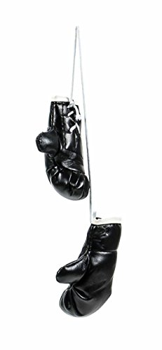 Mini Boxhandschuhe, witzig-sportliche Dekoration, Rückspiegel im Auto, Kunstleder, schlicht, Größeca.8,5cm, lieferbar in den Farben Schwarz oder Rot (Schwarz)