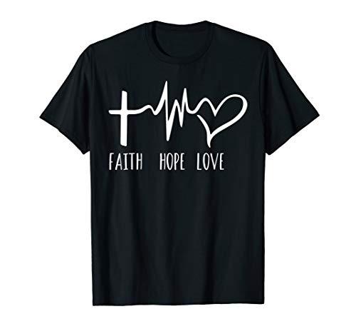 Glaube-Hoffnungs-Liebes-lustige christliche Herzschlag T-Shirt -
