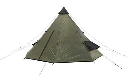 Grand Canyon Tepee - Tipi / Indiana Zelt, für 8-Personen, für Gruppen, Camping, Outdoor, Abenteuer, Glamping, olive/schwarz, Ø 500 cm, 602007