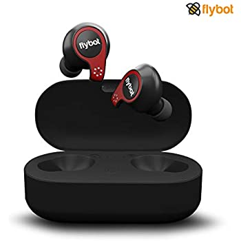 Flybot Active True Wireless Bluetooth 5.0 Earphones with mic and Charging case | IPX7 Waterproof Sports Headset - Black