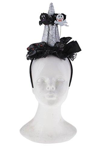 Hexenhut Damen Hut Hexe Mini silber schwarz Erwachsene Hut Halloween Hexer (Hexe Hüte Für Erwachsene)