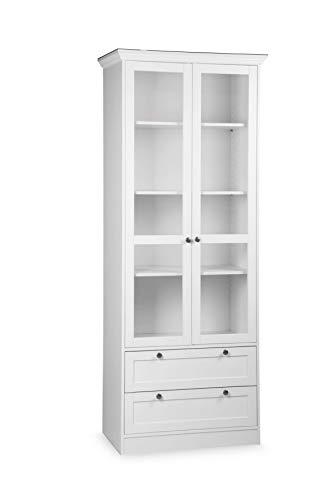 Avanti trendstore - lando - vetrina, in legno laminato di colore bianco con 2 ante in vetro e 2 cassetti, con cornice superiore e con pomoli in metallo. dimensioni: lap 80x200x45 cm