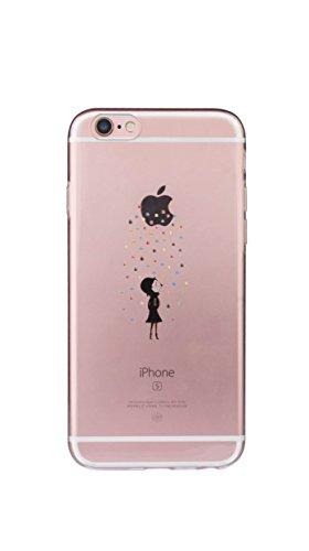 Transparent Premium Silikon TPU Schutzhülle Motiv Case Schutz Weich (iPhone7/8 Bunter Regen)