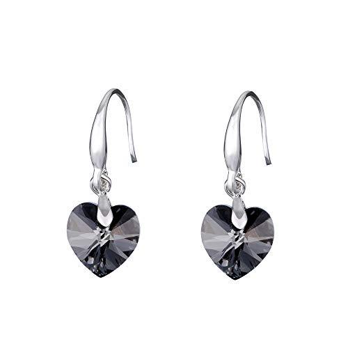 Boucles d'oreilles Pendantes Coeur Swarovski Élément Cristal 925 Argent Boucles D'Oreille Moderne Femme Mariage, Noir