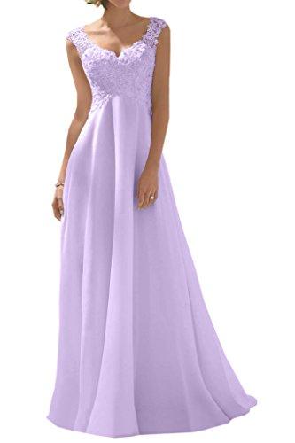 Milano Bride Elegant V-Ausschnitt Spitze Chiffon Hochzeitskleider Brautkleider Brautmode Damen Festkleider Rueckenfrei Lila