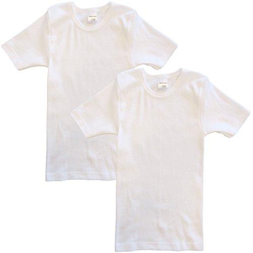HERMKO 62810 2er Pack Kinder kurzarm Funktionsshirt für Sport und Alltag, Farbe:weiß, Größe:140