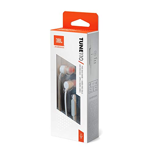 JBL Tune 110 in-Ear Headphones with Mic (White) Image 6
