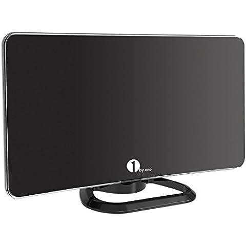 1byone Antena Digital TDT HD con Soporte, Recepción Digital más Fuerte, Antena VHF/UHF/FM, Mayor Rango de Recepción de 60 KM, Antena de TV con 4m de Cable-Negra