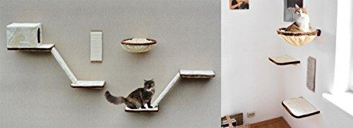 WeAreShopping Katzen-Kletterwand 12-teilig mit Treppe, Höhle und Liegeflächen, schöne Katzenwelt in beige, braun,