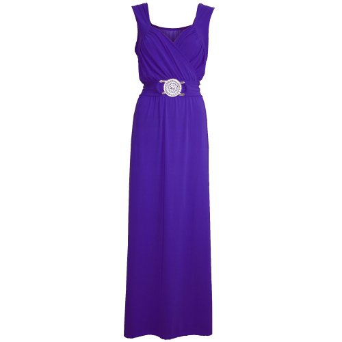 Pure Fashion Damen Maxikleid Ärmellos Mehrfarbig Purple - Long Below Knee Length College Girls