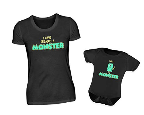 Mutter Baby Partnerlook Set T-Shirt Baby Body Strampler I Have Created A Monster & I Am A Monster Rundhals Comic Mama Kind Partneroutfit (M & 12-18 ()