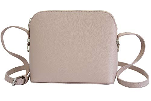 AMBRA Moda Italienische Ledertasche Damen Handtasche Umhängetasche Schultertasche Leder Tasche klein GL018 (Altrosa) -