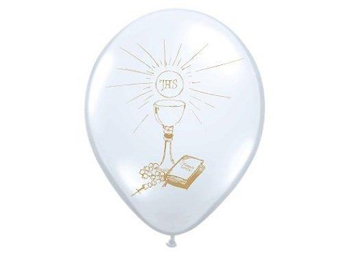 Luftballons Kommunion pastellweiß Kelch silber, 30 cm, 6 Stück
