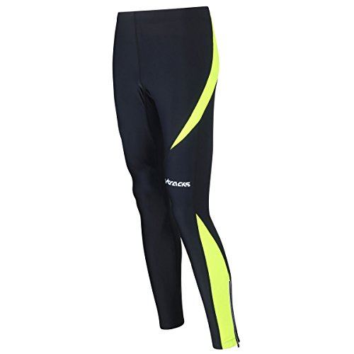 Airtracks Winter Funktions Laufhose Lang Pro/Damen oder Herren/Thermo Running Tight/Atmungsaktiv/Reflektoren - schwarz - neon - XL - Herren