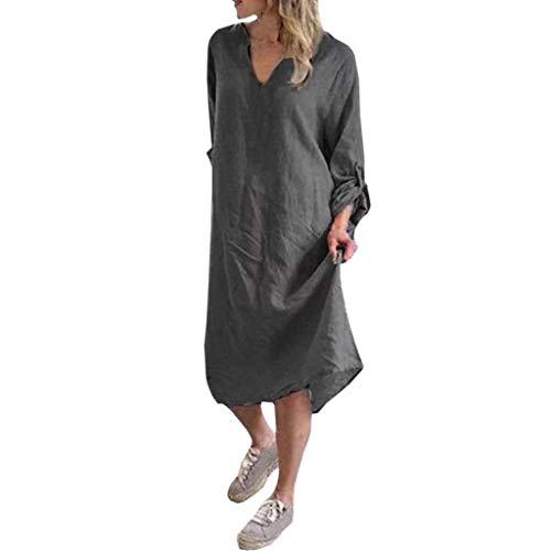 Obestseller Damen-Kleider Damen Sommer Schulterfrei Businesskleider für Damen Lässiges, ärmelloses Kleid aus Baumwolle und Leinen mit Rundhalsausschnitt für Damen (Lace Leinen Trim)